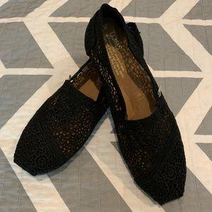 Black Lace Crochet Toms